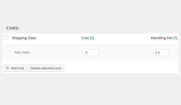 Costs section showing additional amounts for cost and handling fee