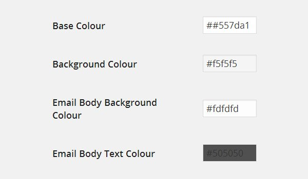 Colour options for email template