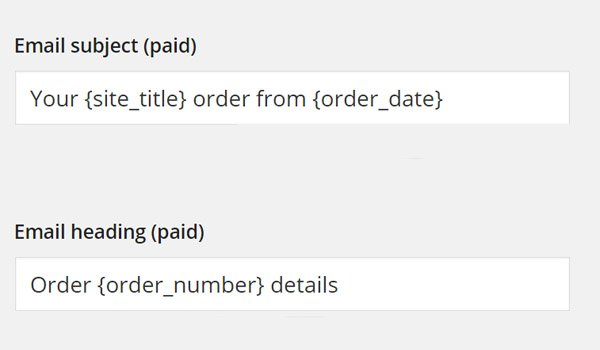 Email subject and heading when invoice is paid