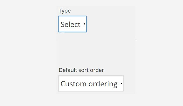 Type and Default sort order for product attributes