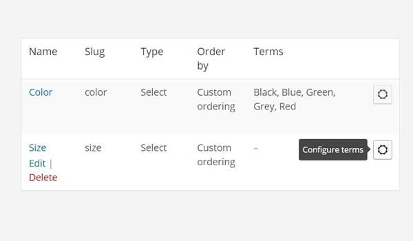 Configure terms button