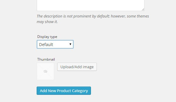 Product category display type and thumbnail