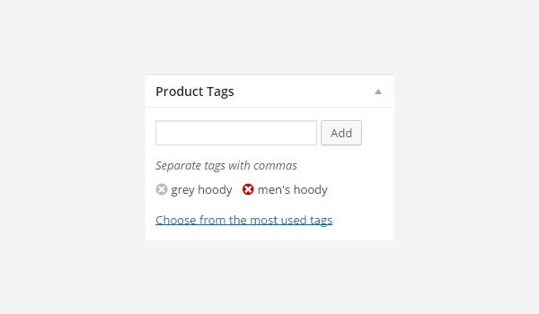 Product Tags meta box for deleting tags
