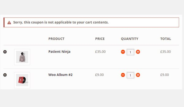 cart showing error message about coupon not applicable