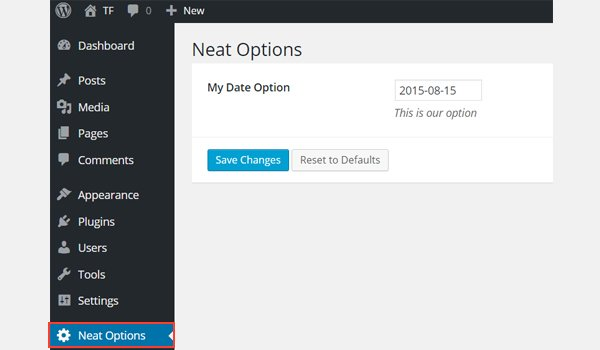 The date option in the dashboard