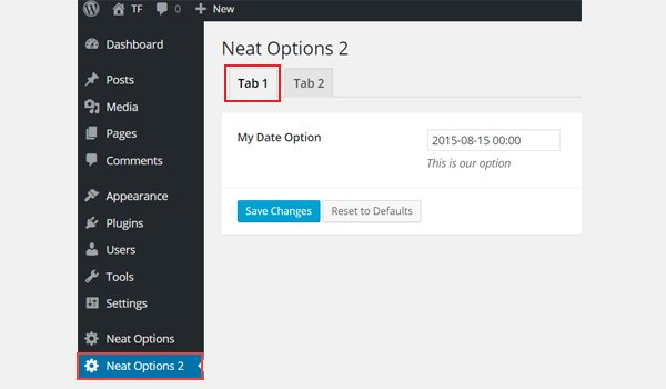 Displaying the date option in a tabbed interface