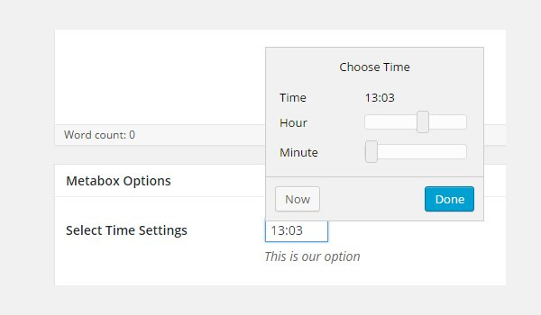 Selecting a time from the meta box