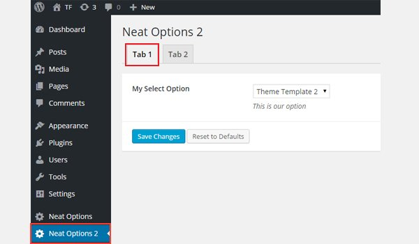 Adding a select option to the tabs