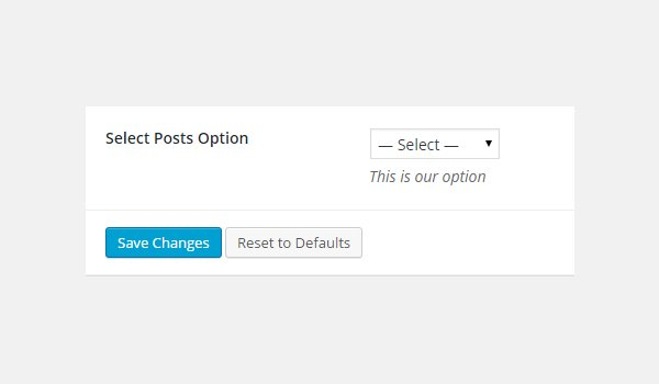 Adding a select posts option to the dashboard