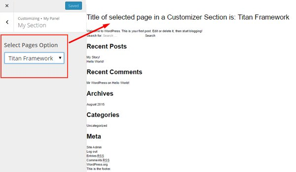 Previewing the selected value on the Customizer