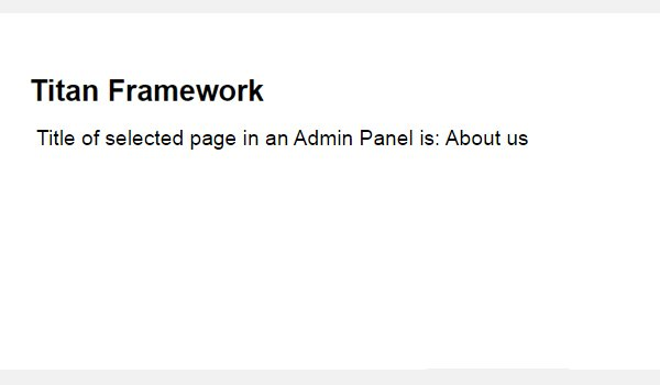 The result of selecting a page option on the front-end