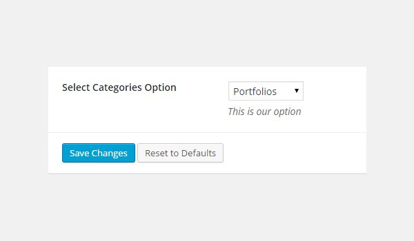 Choosing an option from the Select-Categories dropdown