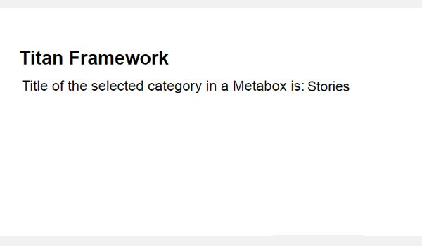 Viewing the results of the select-categories chosen from the meta box