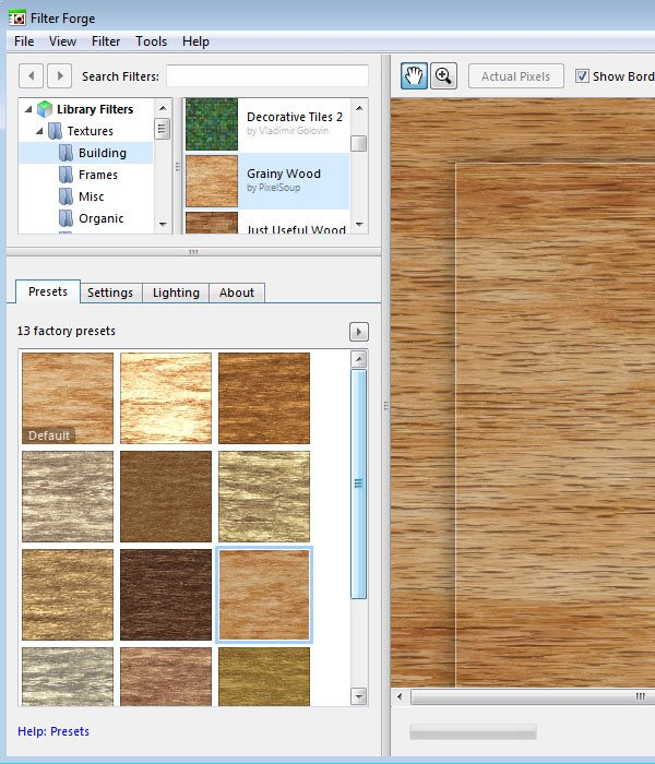 Grainy Wood Filter