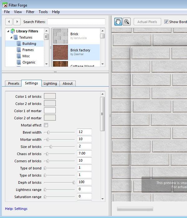 Brick Factory Filter Settings