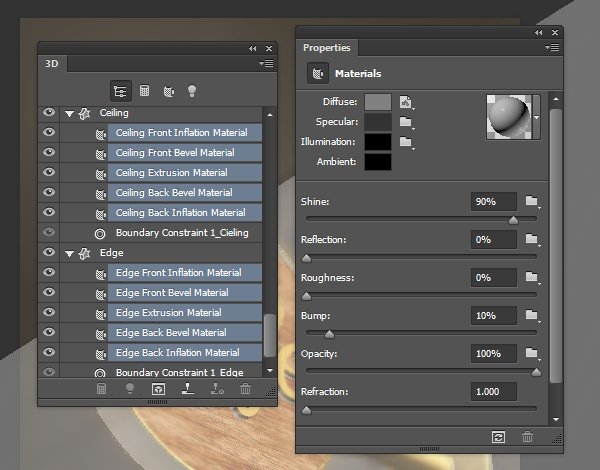 Ceiling and Edge Material Settings