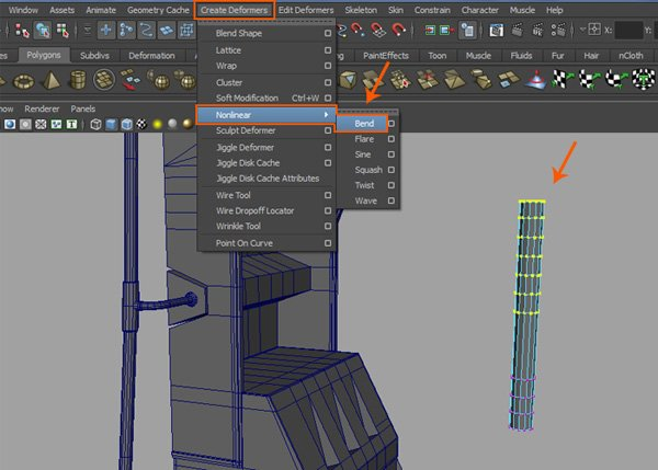 Create Deformers  Nonlinear  Bend command