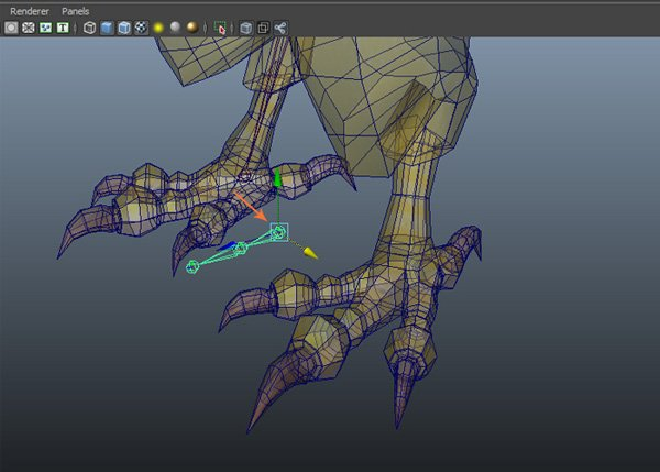 Place the claw joints inside the mesh
