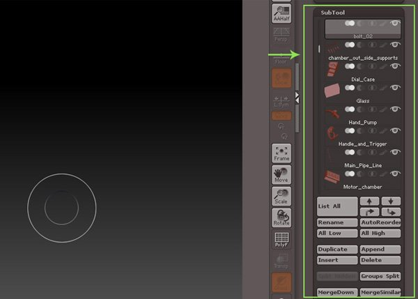 Sub Tool panel