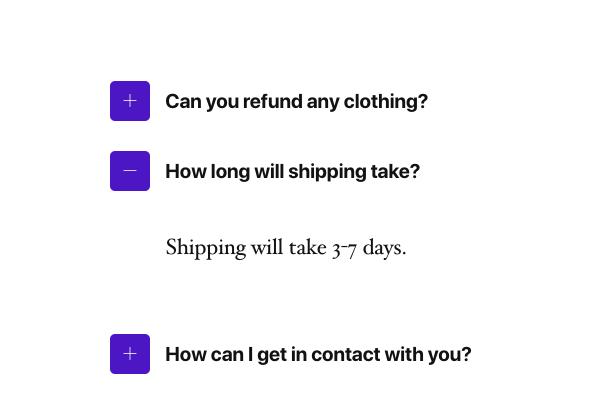 Online Store Accordion FAQ