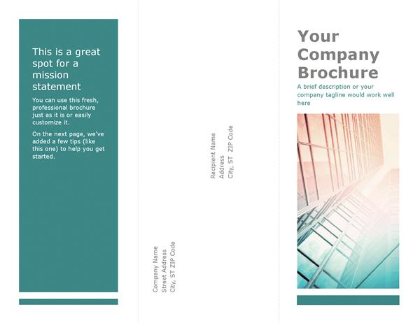 tri fold brochure blue