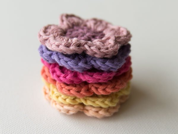 Finished crochet flowers stacked