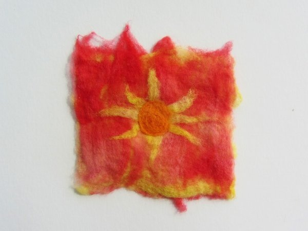finished wet felted wool piece