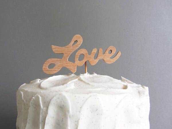 Final wooden word cake topper