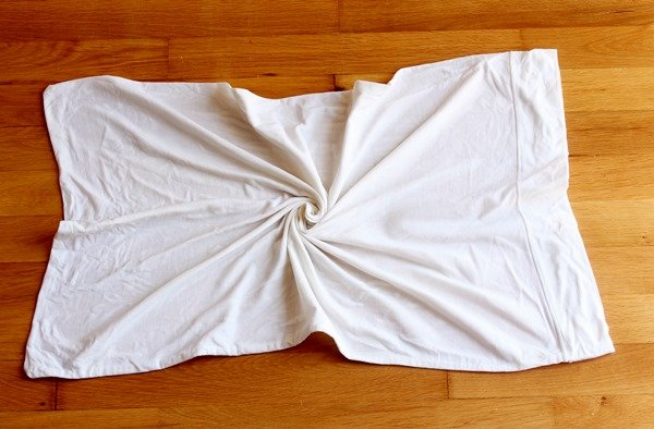 pillow case will start forming a whirl