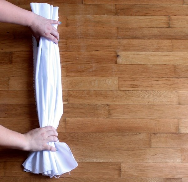 gather it in a pleated strip