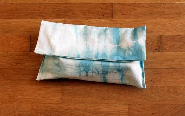 Closed shibori clutch bag