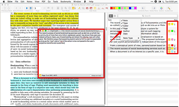 Filter pane in Skim lets you filter the notes in various ways Notice that you can also see the highlight color type of annotation tool used and page number