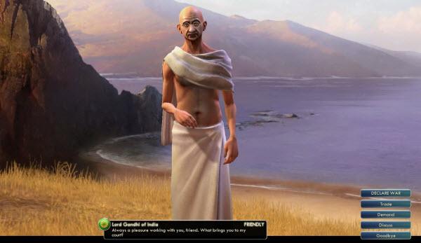 Gandhi in Civilisation 5 avoid invoking his wrath