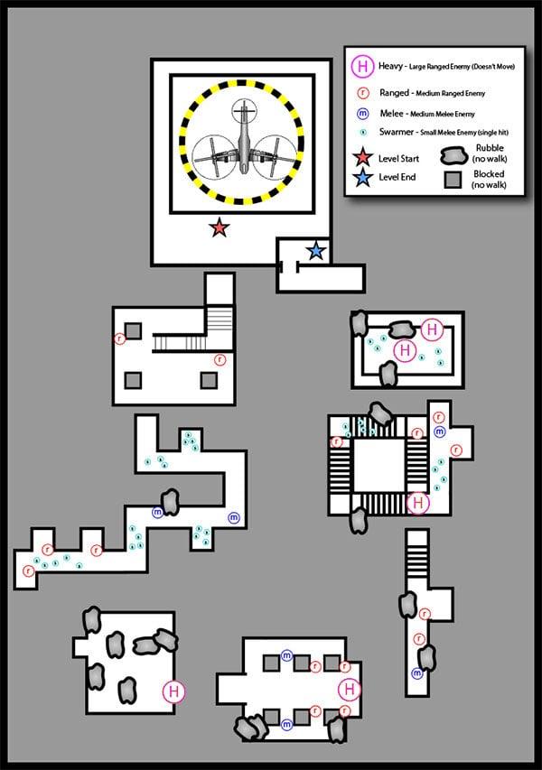 Rough unconnected 2D level map