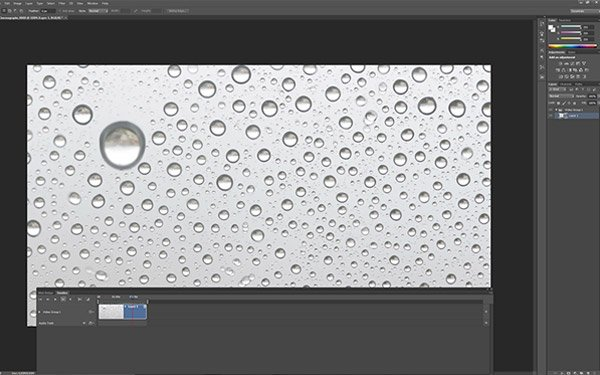 Once the video segment opens in Photoshop the timeline shows it so you can choose your static frame