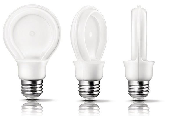 Philips SlimStyle A19 light looks like a flat tungsten light but is a LED omnidirectional light