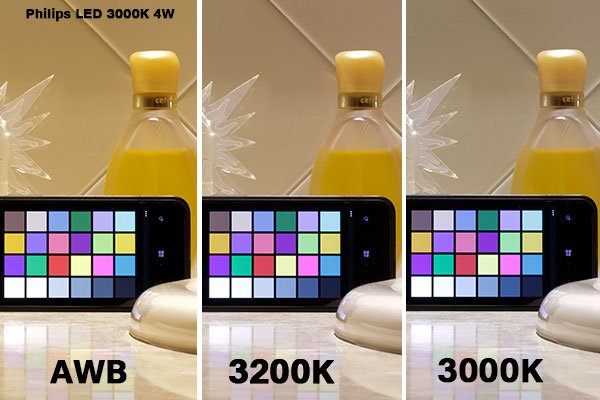 Adjusting for the colour temperature of the Philips LED light bulb offered the best results