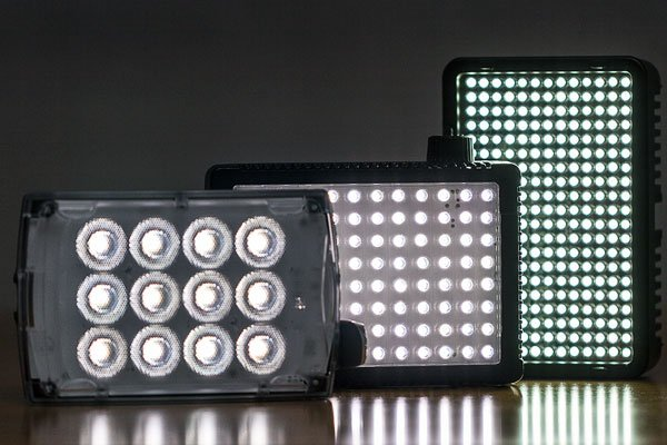 Small LED panels for use with DSLR cameras offer a lot of power in a small package