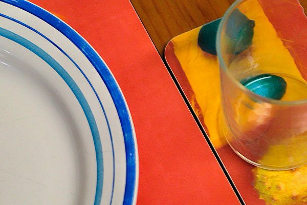 Photography can start on your dinning table with dishes glasses and placemats