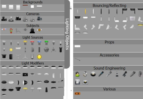 The OLDC has a complete set of lighting systems to use in your diagrams and also has some other icons for building more complex setups
