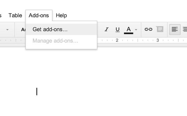 Adding Google Docs add-ons