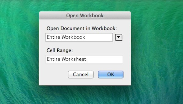 Opening an excel workbook in Word