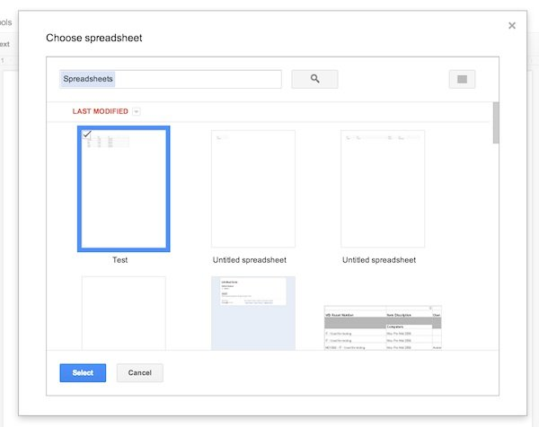 Selecting your Google Sheet to make labels from