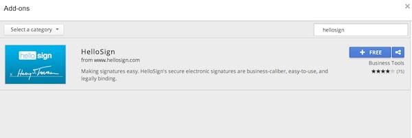 Adding the HelloSign Google Docs add-on