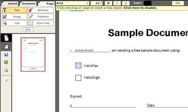 PDFescape text options