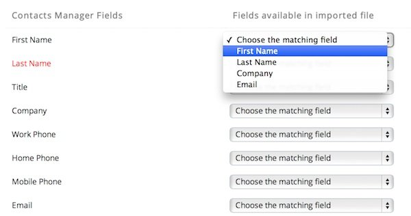 Assigning Contact Manager Fields