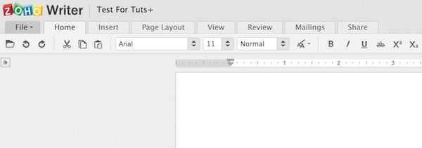 Using the Home tab in Zoho Writer