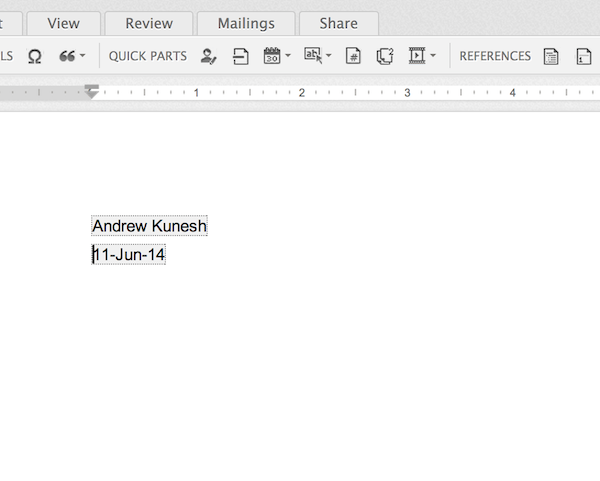 Using Quick Parts to add information to your document