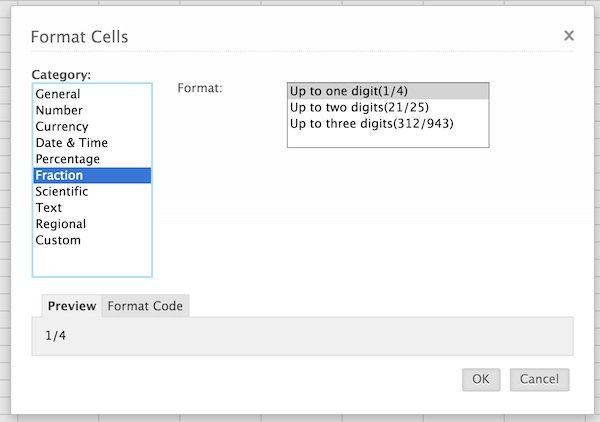 Formatting cells by way of the Format Options window