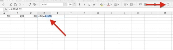 Using Auto Sum to add three different cells